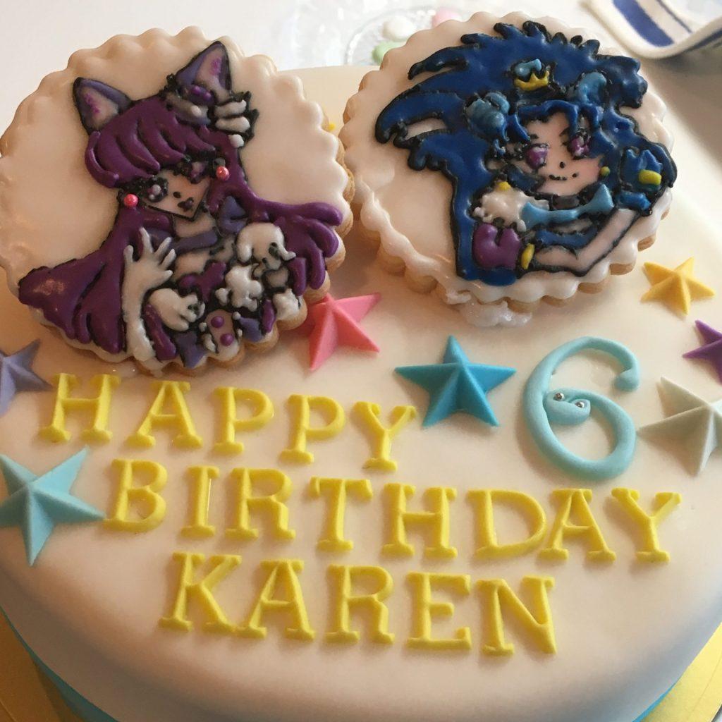 3010 アイシングクッキーを載せたお誕生日ケーキ